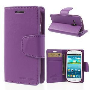 Diary PU kožené pouzdro na Samsung Galaxy S3 mini - fialové - 1