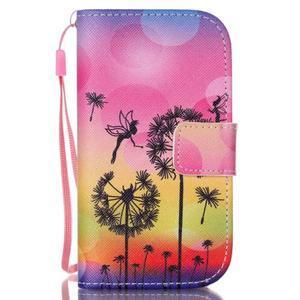 Knížkové PU kožené pouzdro na Samsung Galaxy S3 mini - pampelišky - 1