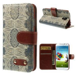 Elegant peněženkové pouzdro na Samsung Galaxy S4 - retro květina - 1