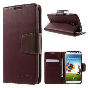 Diary PU kožené pouzdro na mobil Samsung Galaxy S4 - vínové - 1