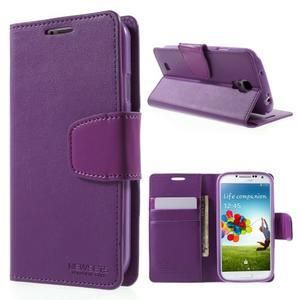 Diary PU kožené pouzdro na mobil Samsung Galaxy S4 - fialové - 1