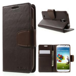 Diary PU kožené pouzdro na mobil Samsung Galaxy S4 - coffee - 1