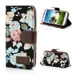 Květinové pouzdro na mobil Samsung Galaxy S4 - černé pozadí - 1/7
