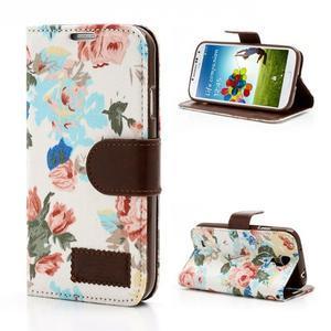 Květinové pouzdro na mobil Samsung Galaxy S4 - bílé pozadí - 1