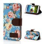 Květinové pouzdro na mobil Samsung Galaxy S4 - modré pozadí - 1/7