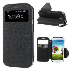 Okýnkové peněženkové pouzdro na mobil Samsung Galaxy S4 - černé - 1
