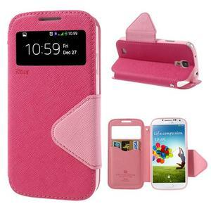 Okýnkové peněženkové pouzdro na mobil Samsung Galaxy S4 - rose - 1