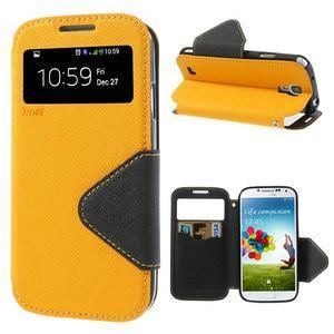Okýnkové peněženkové pouzdro na mobil Samsung Galaxy S4 - žluté - 1