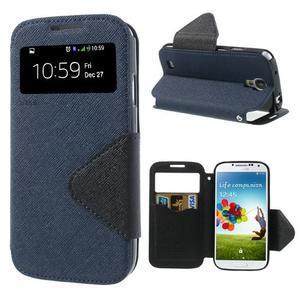 Okýnkové peněženkové pouzdro na mobil Samsung Galaxy S4 - tmavěmodré - 1