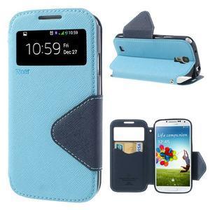 Okýnkové peněženkové pouzdro na mobil Samsung Galaxy S4 - světlemodré - 1