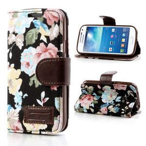 Květinkové pouzdro na mobil Samsung Galaxy S4 mini - černé pozadí - 1