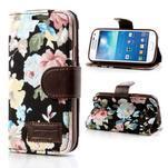 Květinkové pouzdro na mobil Samsung Galaxy S4 mini - černé pozadí - 1/7