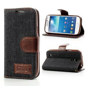 Jeans stylové pouzdro na mobil Samsung Galaxy S4 mini - černomodré - 1