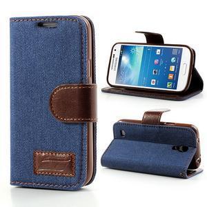 Jeans stylové pouzdro na mobil Samsung Galaxy S4 mini - tmavěmodré - 1