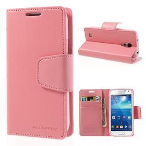 Sonata PU kožené pouzdro na mobil Samsung Galaxy S4 mini - růžové - 1