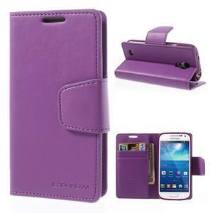 Sonata PU kožené pouzdro na mobil Samsung Galaxy S4 mini - fialové - 1