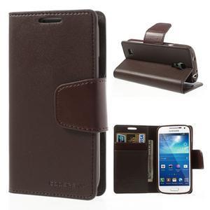 Sonata PU kožené pouzdro na mobil Samsung Galaxy S4 mini - coffee - 1