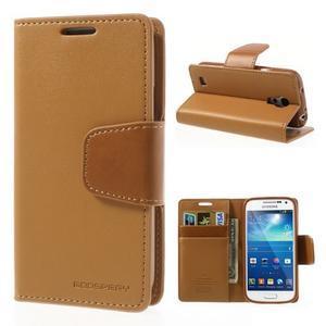 Sonata PU kožené pouzdro na mobil Samsung Galaxy S4 mini - hnědé - 1