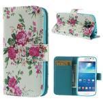 Style peněženkové pouzdro na Samsung Galaxy S4 mini - kytičky - 1/7