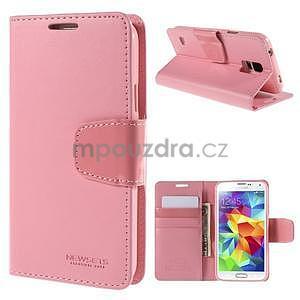 Elegantní peněženkové pouzdro na Samsung Galaxy S5 - růžové - 1