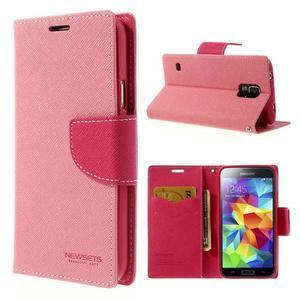 Diary peněženkové pouzdro na Samsung Galaxy S5 - růžové - 1