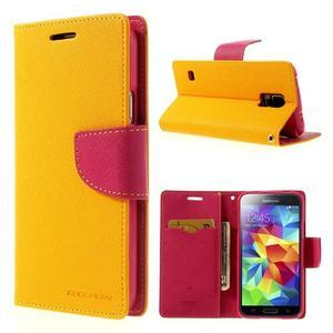 Diary peněženkové pouzdro na Samsung Galaxy S5 - žluté - 1