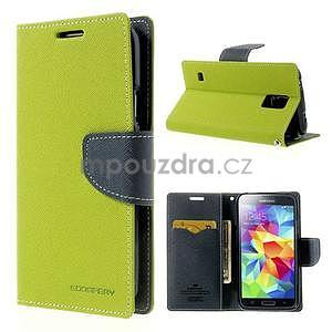 Diary peněženkové pouzdro na Samsung Galaxy S5 - zelené - 1