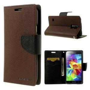 Diary peněženkové pouzdro na Samsung Galaxy S5 - hnědé - 1