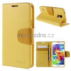 Elegantní peněženkové pouzdro na Samsung Galaxy S5 - žluté - 1
