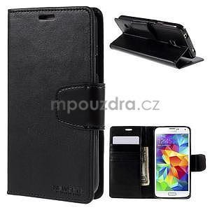 Elegantní peněženkové pouzdro na Samsung Galaxy S5 - černé - 1