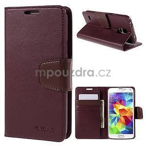 Elegantní peněženkové pouzdro na Samsung Galaxy S5 - vínové - 1