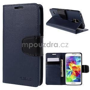 Elegantní peněženkové pouzdro na Samsung Galaxy S5 - tmavěmodré - 1