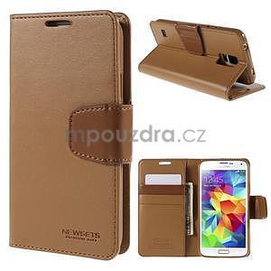 Elegantní peněženkové pouzdro na Samsung Galaxy S5 - hnědé - 1