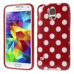 Puntíkovaný gelový kryt na Samsung Galaxy S5 - červený - 1/5