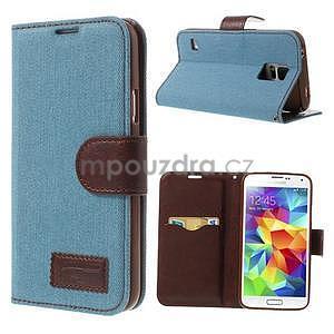 Jeans peněženkové pouzdro na mobil Samsung Galaxy S5 - světlemodré - 1