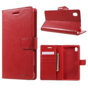Moon PU kožené pouzdro na mobil Sony Xperia M4 Aqua - červené - 1