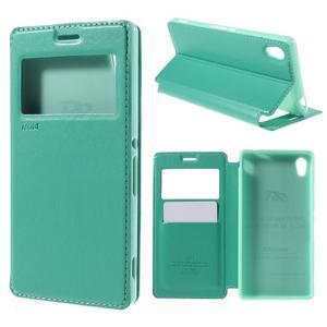 Okýnkové PU kožené pouzdro na Sony Xperia M4 Aqua - azurové - 1