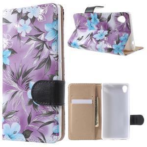 Květinkové pouzdro na mobil Sony Xperia M4 Aqua - fialové - 1