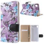 Květinkové pouzdro na mobil Sony Xperia M4 Aqua - fialové - 1/7