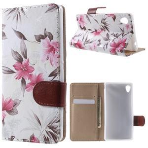 Květinkové pouzdro na mobil Sony Xperia M4 Aqua - bílé - 1