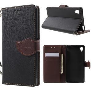 Leaf PU kožené pouzdro na mobil Sony Xperia M4 Aqua - černé - 1