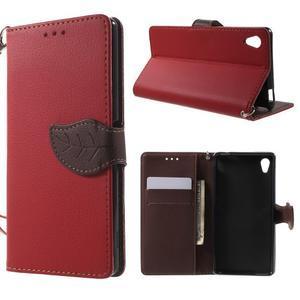 Leaf PU kožené pouzdro na mobil Sony Xperia M4 Aqua - červené - 1