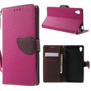 Leaf PU kožené pouzdro na mobil Sony Xperia M4 Aqua - rose - 1