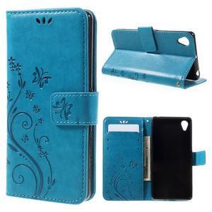 Butterfly PU kožené pouzdro na Sony Xperia X - modré - 1