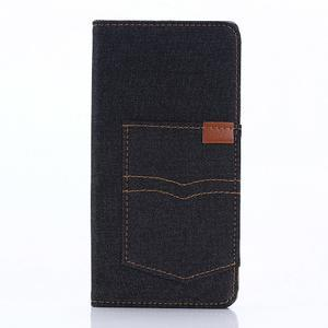 Jeans peněženkové pouzdro na Sony Xperia X - černomodré - 1