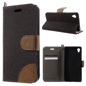 Denim textilní/koženkové pouzdro na Sony Xperia XA - černé - 1