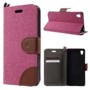 Denim textilní/koženkové pouzdro na Sony Xperia XA - rose - 1
