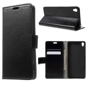 Horse PU kožené pouzdro na mobil Sony Xperia XA - černé - 1