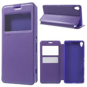 Royal PU kožené pouzdro s okýnkem na Sony Xperia XA - fialové - 1