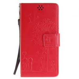 Dandely PU kožené pouzdro na mobil Sony Xperia XA - červené - 1